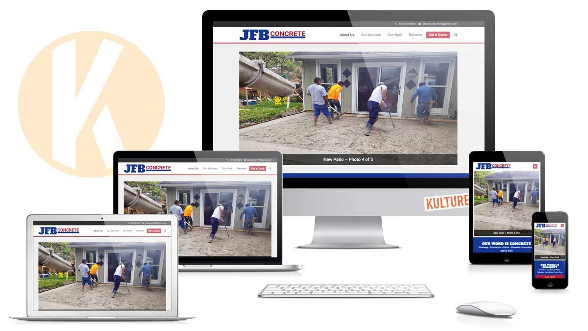 JFB Concrete Website Designed and Developed by Kulture Digital in Austin TX