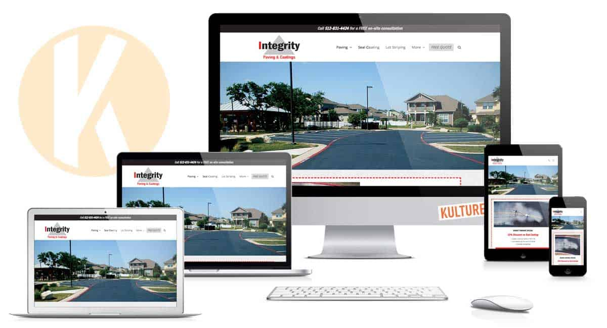 Integrity Paving Website Designed by Kulture Digital Marketing in Austin