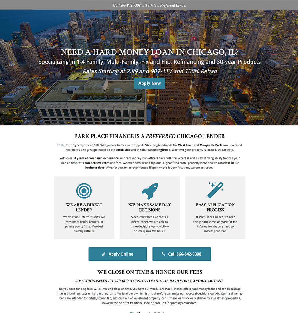 Park Place Finance Hard Money Landing Page From Kulture Digital